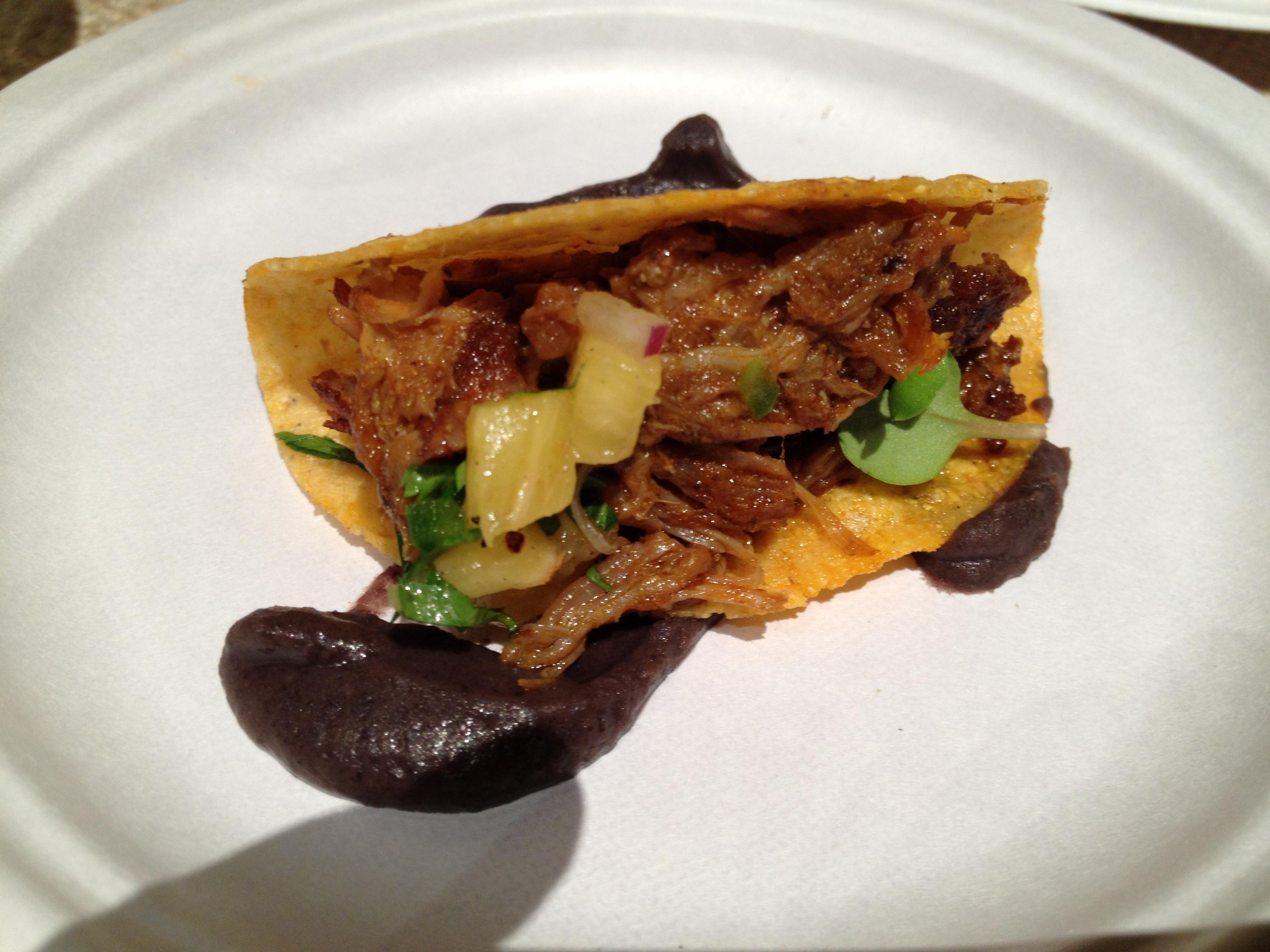 La Calaca Feliz' Tacos, featuring Countrytime Farm Pork Butt & True Leaf Micro Greens -- both local purveyors.
