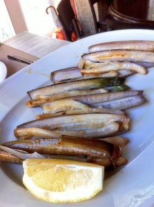 "Razor clams in Santiago de Composta ""They were simply grilled and were so fresh and sweet like candy!"" (photo courtesy of James Blick)"