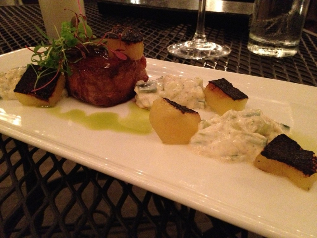 lamb saddle with seared watermelon & tzatziki sauce at M Restaurant (photo by Lee Porter)