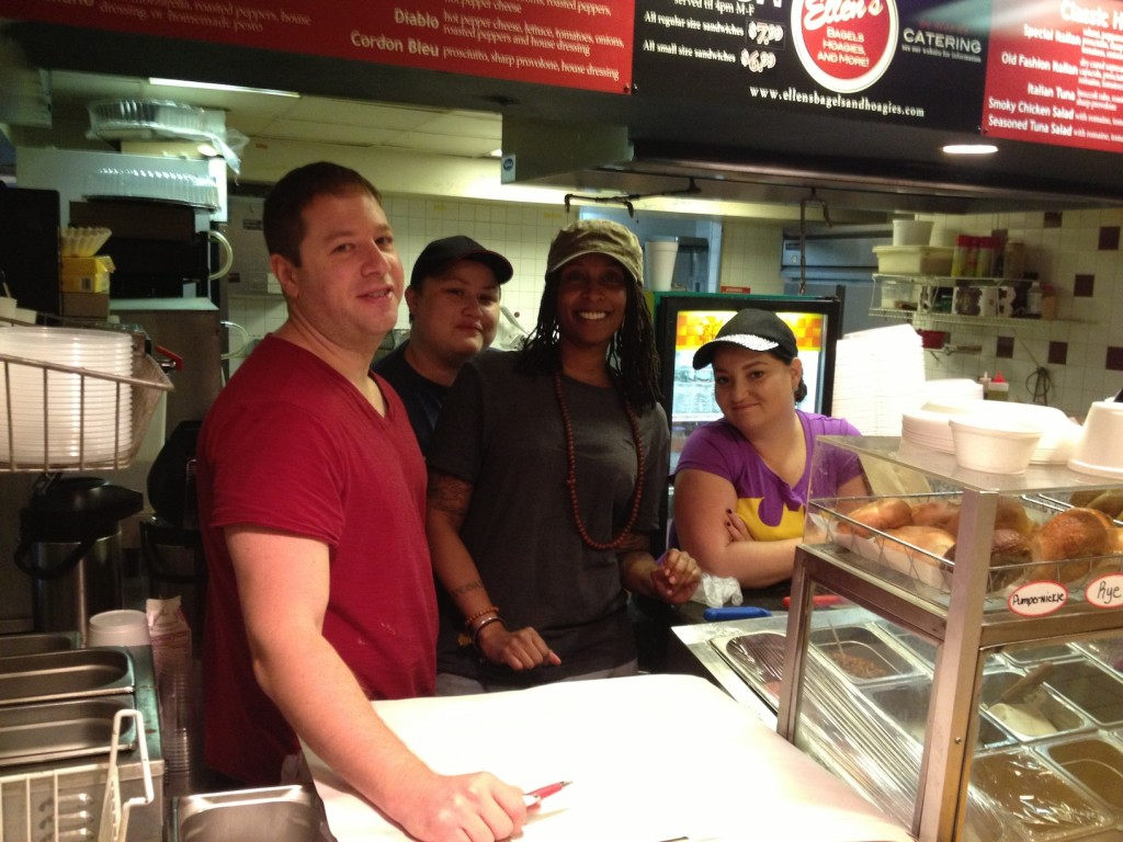 Ellen's Bagels, Hoagies & More's owner Bret Goldman & Staff (photo by Lee Porter)