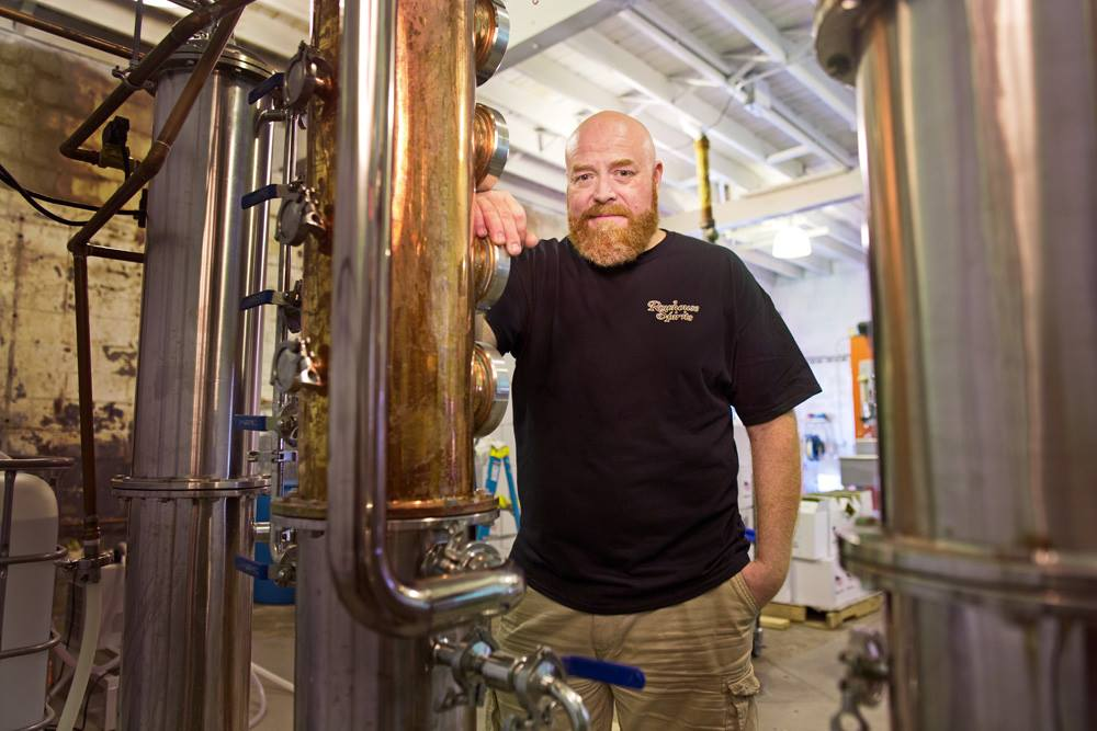 Dean Browne at Rowhouse Spirits Distillery (photo by Lee Porter)