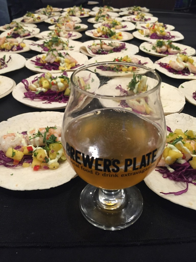 Iron Hill's Cannibal Saison & Chilled Shrimp Tacos with Pineapple Chutney & Cilantro Aioli (photo by Lee Porter)