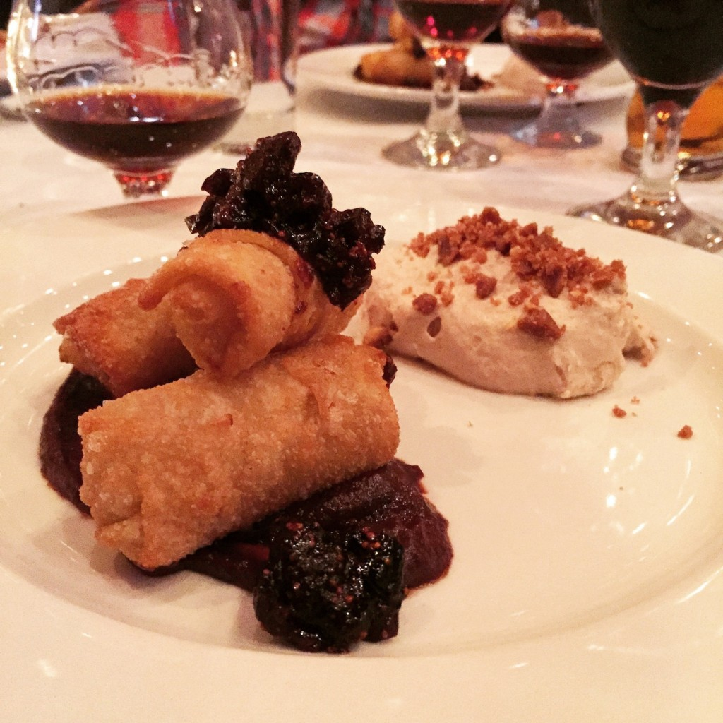 "cheesecake ""egg roll"" with a fig compote & hazelnut whipped cream (photo by Lee Porter)"