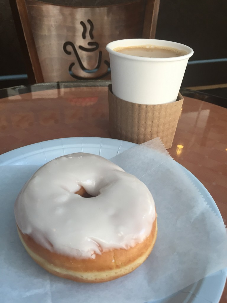 coffee with cream & a donut at Potito's (photo by Lee Porter)