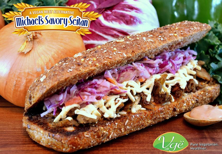 Seitan Reuben Sandwich at Vge Cafe (photo courtesy of Vge Cafe via Michael's Savory Seitan)