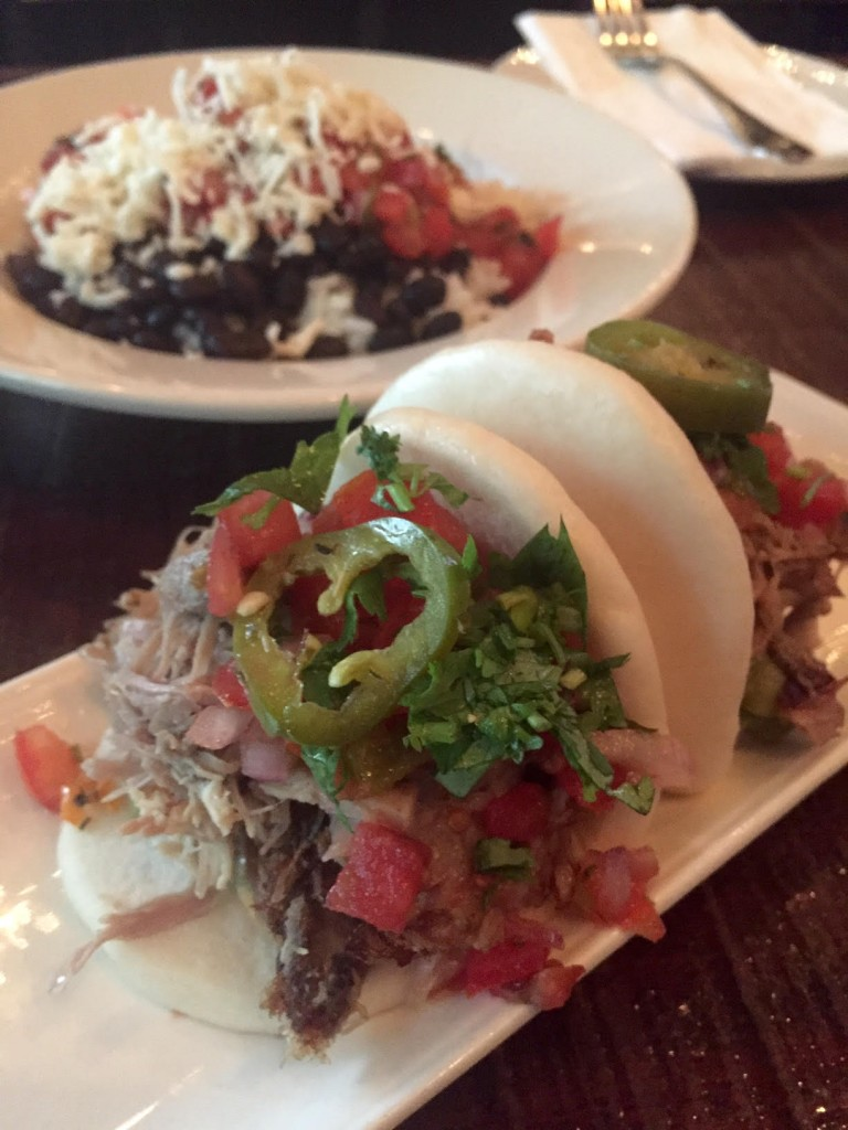 """Pork & Beans"" -- Carnitas Steamed Buns with Rice & Beans at Jose Pistola's (photo by Lee Porter)"